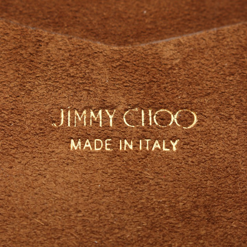 JIMMY CHOO・バッグ・FLO SMALL チェーントート スエード 茶色 黒
