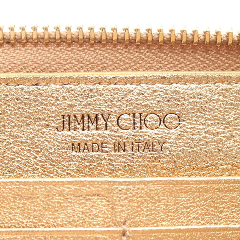 JIMMY CHOO・財布・小物・BETTINA ラウンドファスナー長財布 レザー ゴールド エンボスロゴ