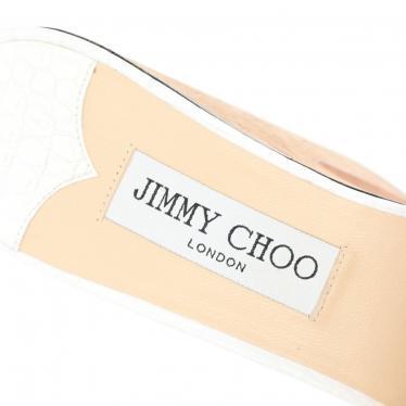 JIMMY CHOO・シューズ・DEEDEE 125 プラットフォームサンダル レザー コルク 白 ベージュ クロコ型押し