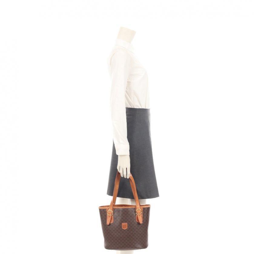 CELINE・バッグ・マカダム柄 ハンドバッグ PVC レザー ダークブラウン 茶色 ヴィンテージ