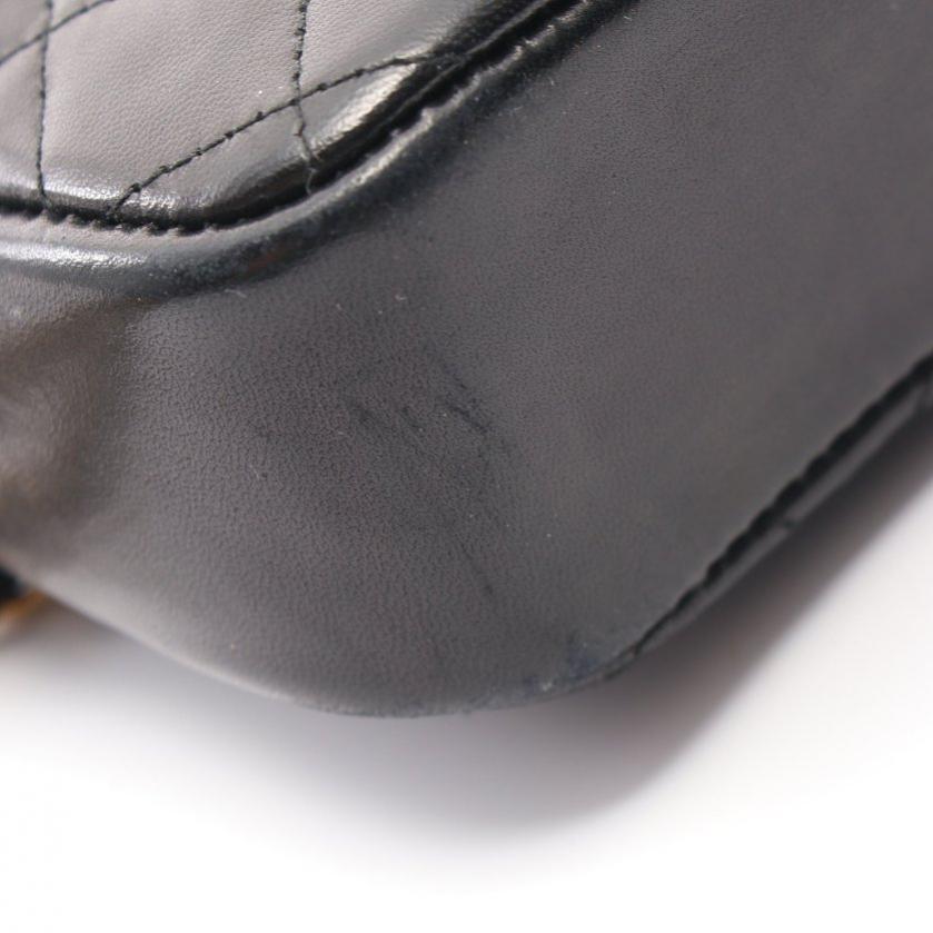 CHANEL・バッグ・マトラッセ Wチェーンショルダーバッグ ラムスキン 黒 ゴールド金具