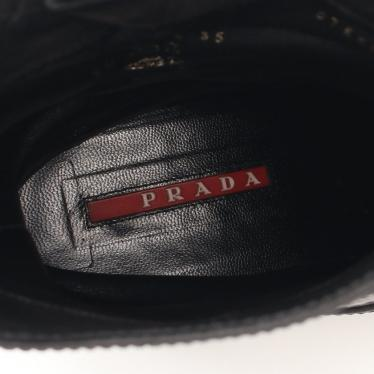 PRADA SPORT LINEA ROSSA・シューズ・エンジニアブーツ レザー ブラック サイドベルト