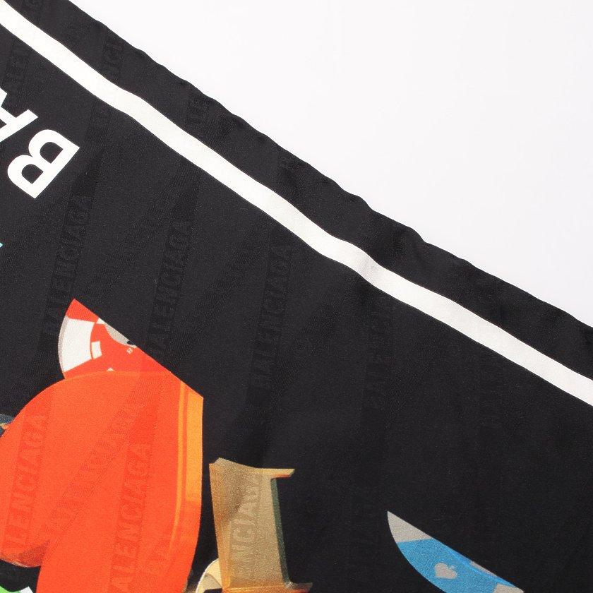 BALENCIAGA・財布・小物・CASINO JACQUARD 90 スカーフ シルク ブラック マルチカラー
