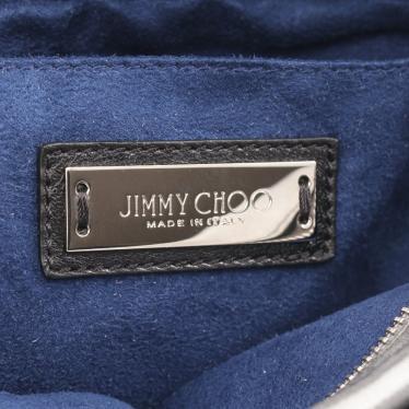 JIMMY CHOO・バッグ・MINISARA ハンドバッグ レザー シルバー ブラック 2WAY エンボススター