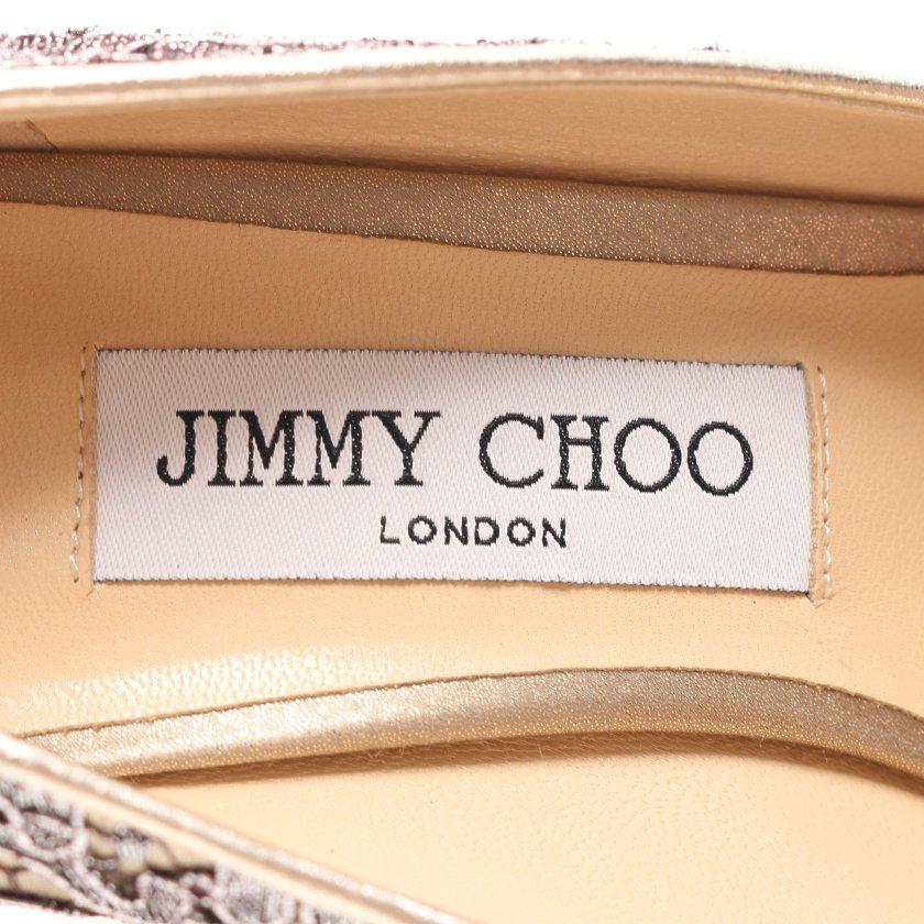 JIMMY CHOO・シューズ・パンプス サテン レース シルバー ゴールド