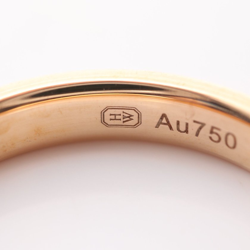 Harry Winston・アクセサリー・ラウンド マリッジ リング 指輪 K18RG ダイヤモンド ローズゴールド 1Pダイヤ