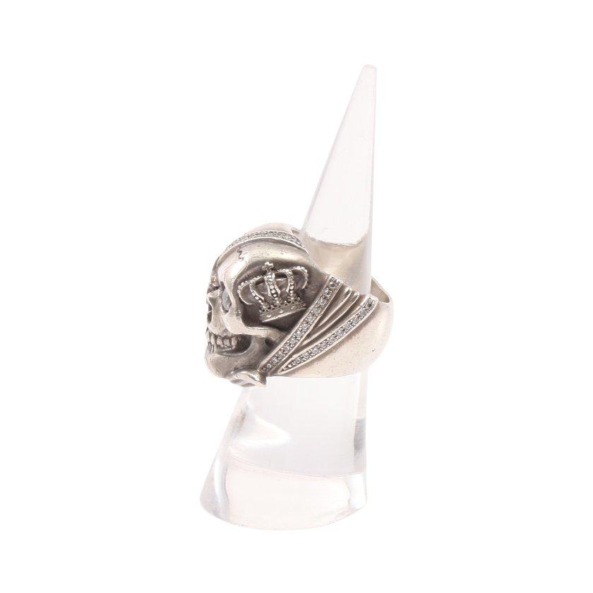 Justin Davis・アクセサリー・FREEDOM リング 指輪 SV925 シルバー ラインストーン クラウン スカルモチーフ