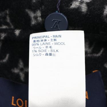 LOUIS VUITTON・アウター・フーデッドケープ コート ウール シルク レザー ブラック