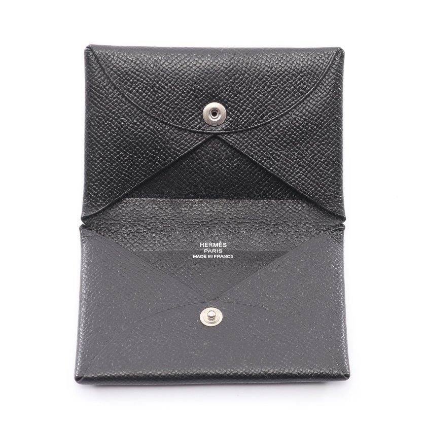 HERMES・財布・小物・カルヴィ カードケース ヴォーエプソン ブラック □N刻印