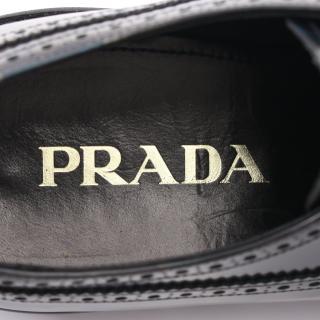 PRADA・シューズ・ ドレスシューズ カモフラ柄 レザー ブラック カーキグリーン ウィングチップ レースアップ