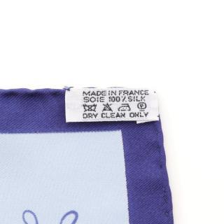 HERMES・財布・小物・プチカレ45「LART DECRIRE」 スカーフ シルク ライトブルー ブルー