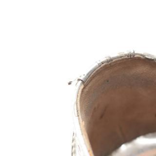 miu miu・シューズ・ カジュアルシューズ レザー シルバー ウィングチップ ウッドソール 厚底