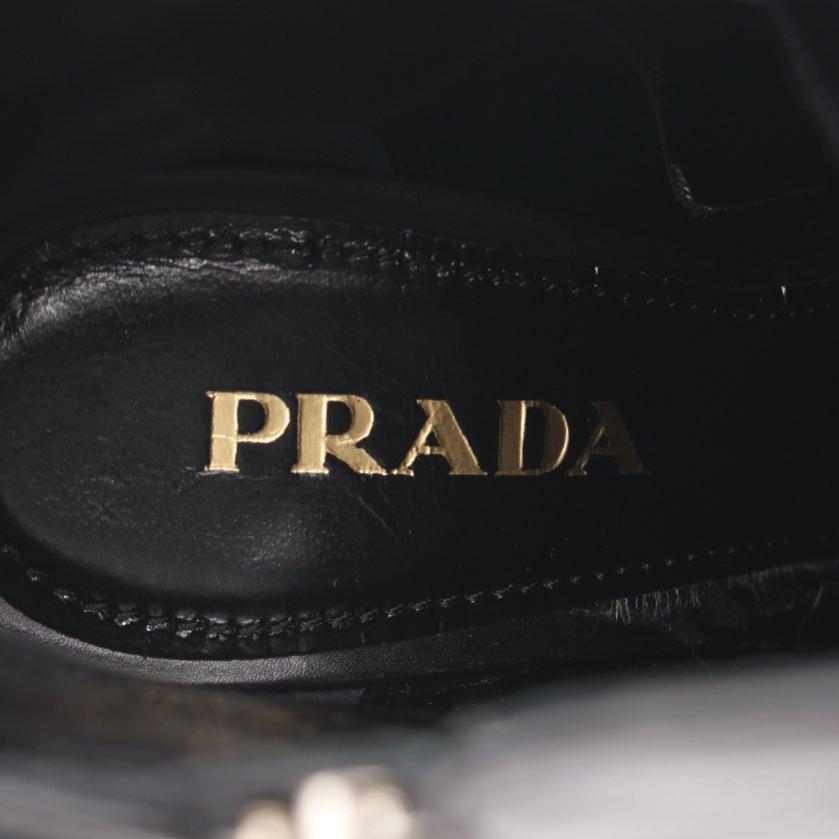 PRADA・シューズ・VITELLO ショートブーツ レザー ブラック サイドジップ