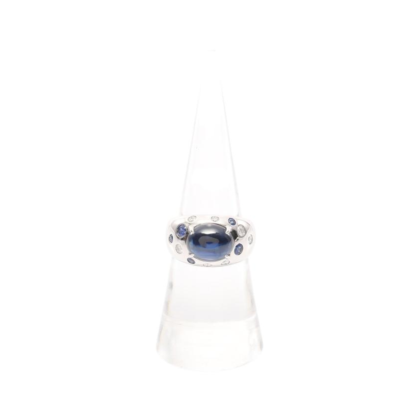 TASAKI・アクセサリー・オーバル カボション リング 指輪 K18WG サファイア ダイヤモンド ホワイトゴールド ブルー クリア