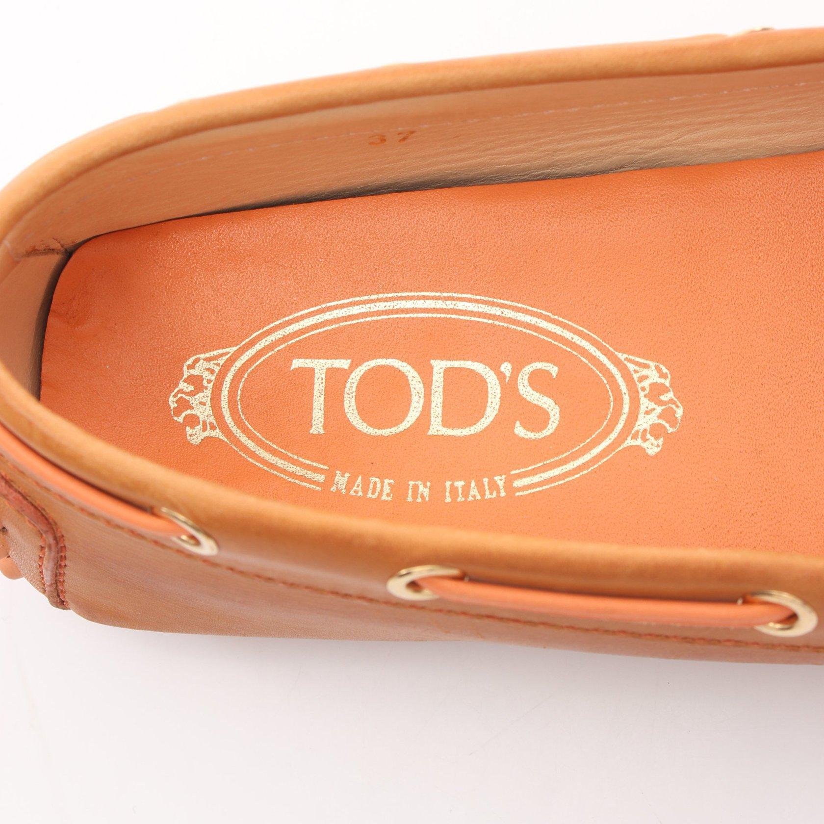 TOD'S・シューズ・HEAVEN N. ドライビングシューズ レザー ライトブラウン オレンジ リボン ロゴ