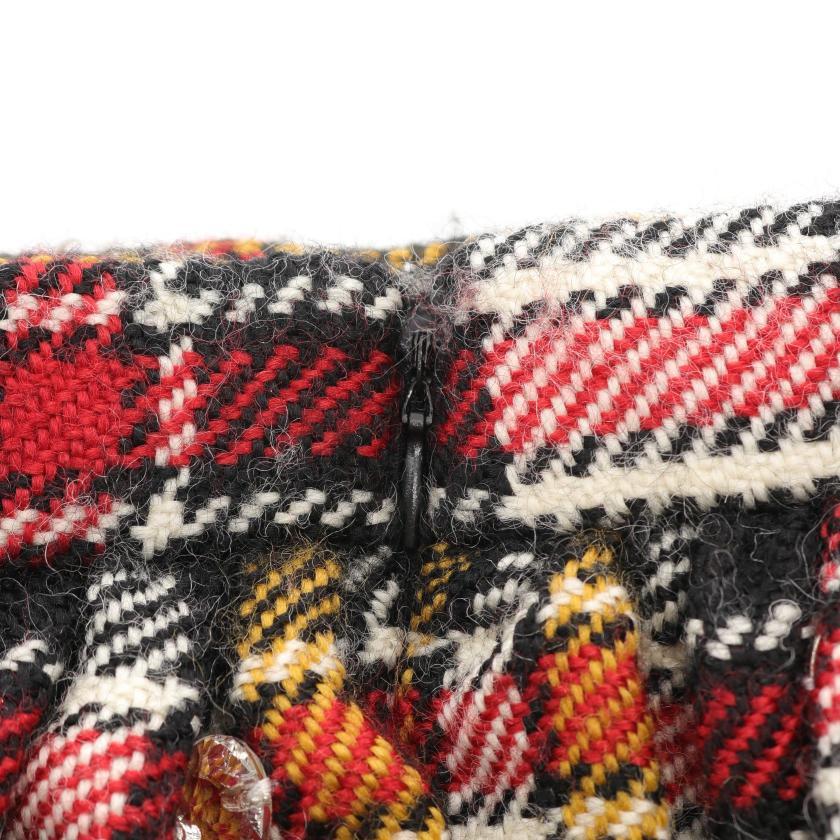 miu miu・ボトムス・Embellished wool skirt スカート チェック ウール アイボリー ブラック マルチカラー ビジュー