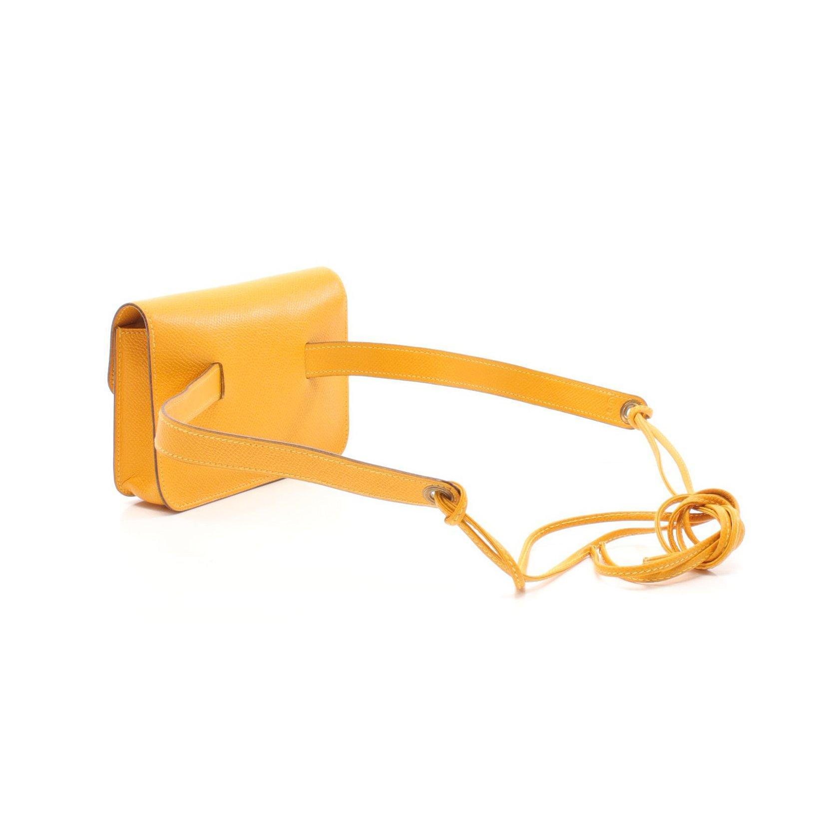HERMES・バッグ・ポシェットグリーン ジョーヌ ボディバッグ ウエストバッグ クシュベル イエロー 〇U刻印 ゴールド金具