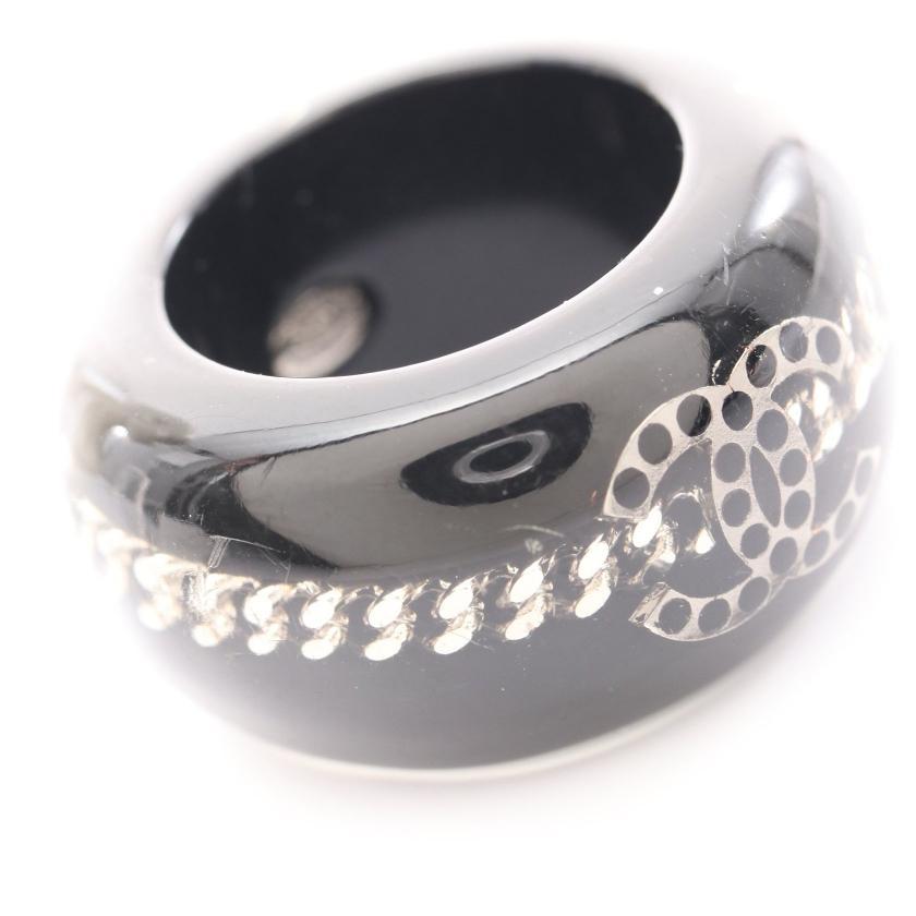 CHANEL・アクセサリー・ココマーク リング 指輪 ブラック シルバー 09P