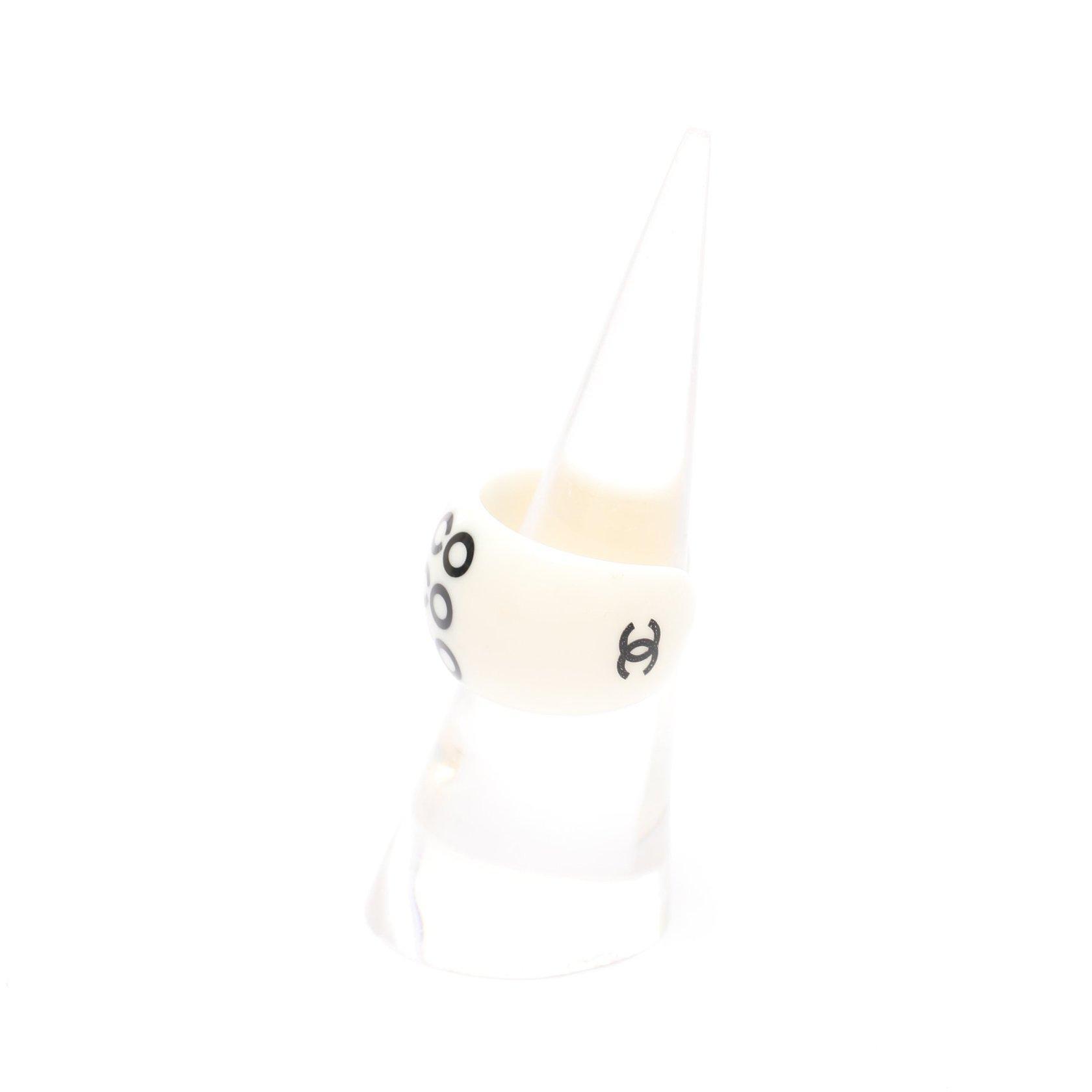 CHANEL・アクセサリー・COCO リング 指輪 ホワイト ブラック 01P