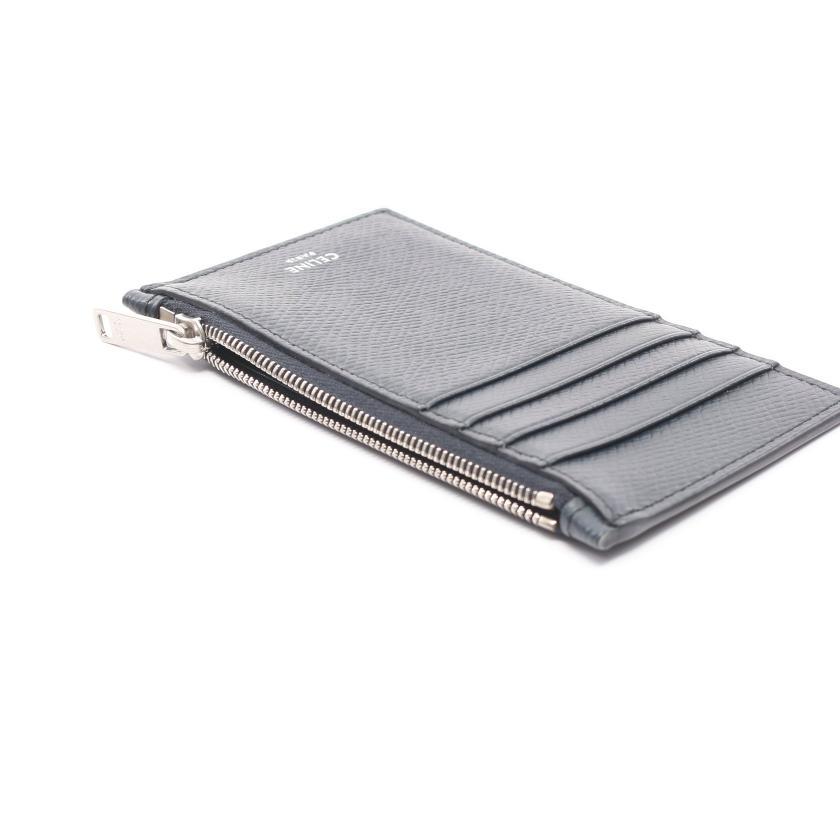 CELINE・財布・小物・コンパクト ジップドカードホルダー カードケース コインケース レザー ネイビー