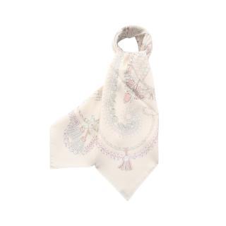 HERMES・財布・小物・カレ90 「PAPEROLES」 スカーフ シルク アイボリー マルチカラー