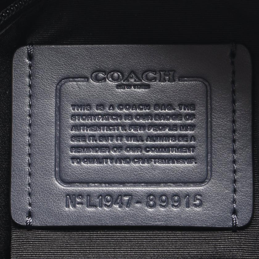 COACH・バッグ・ ショルダーバッグ ロゴ レザー ネイビー ライトグレー