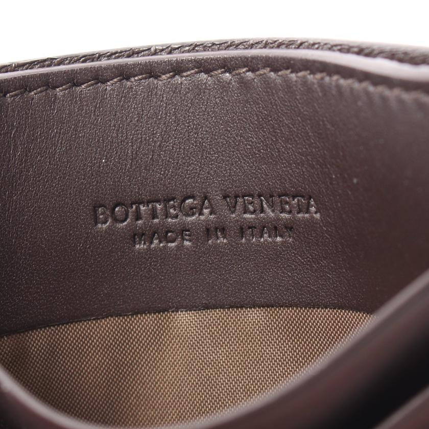 BOTTEGA VENETA・財布・小物・イントレチャート カードケース レザー ダークブラウン