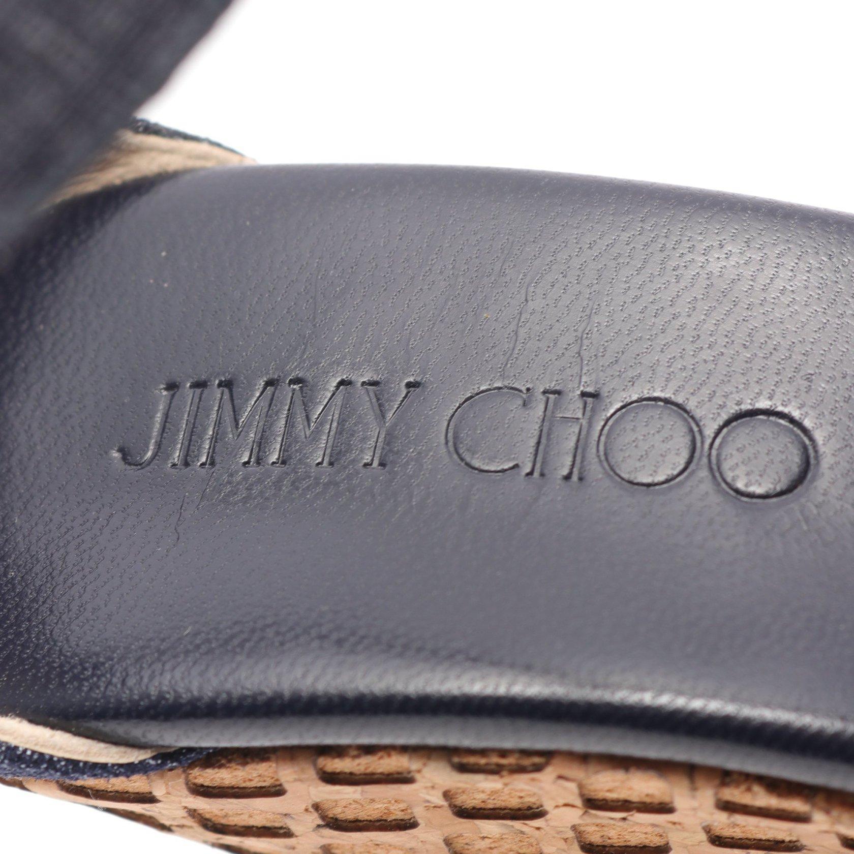JIMMY CHOO・シューズ・PELA サンダル デニム レザー コルク ネイビー ベージュ ウェッジソール