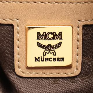 MCM・バッグ・ヴィセトス ハンドバッグ PVC レザー ベージュ 巾着 2WAY