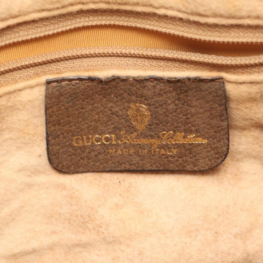 GUCCI・バッグ・オールドグッチ GGプラス ショルダーバッグ PVC レザー ベージュ ブラウン