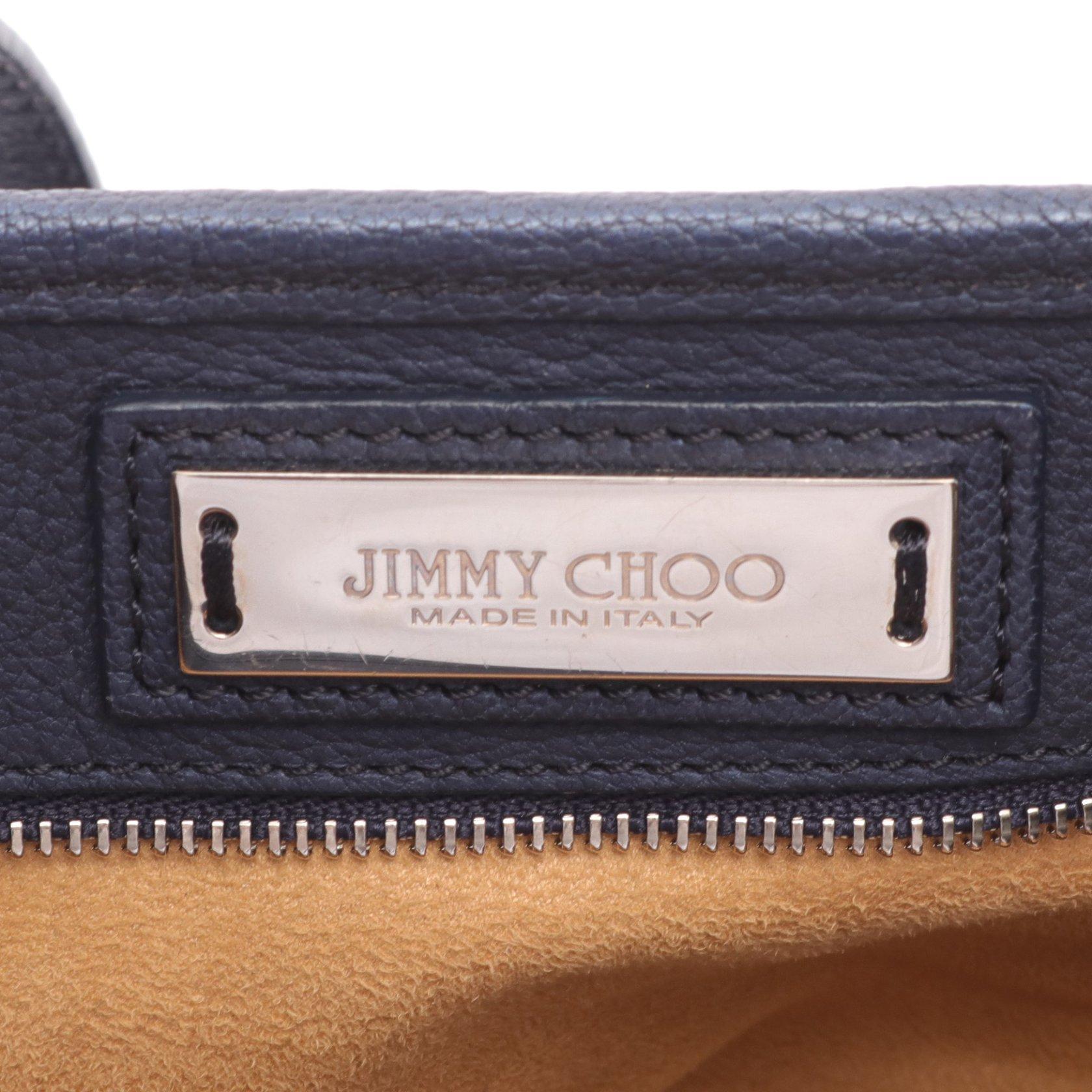 JIMMY CHOO・バッグ・SASHA M サシャ トートバッグ レザー ネイビー スター