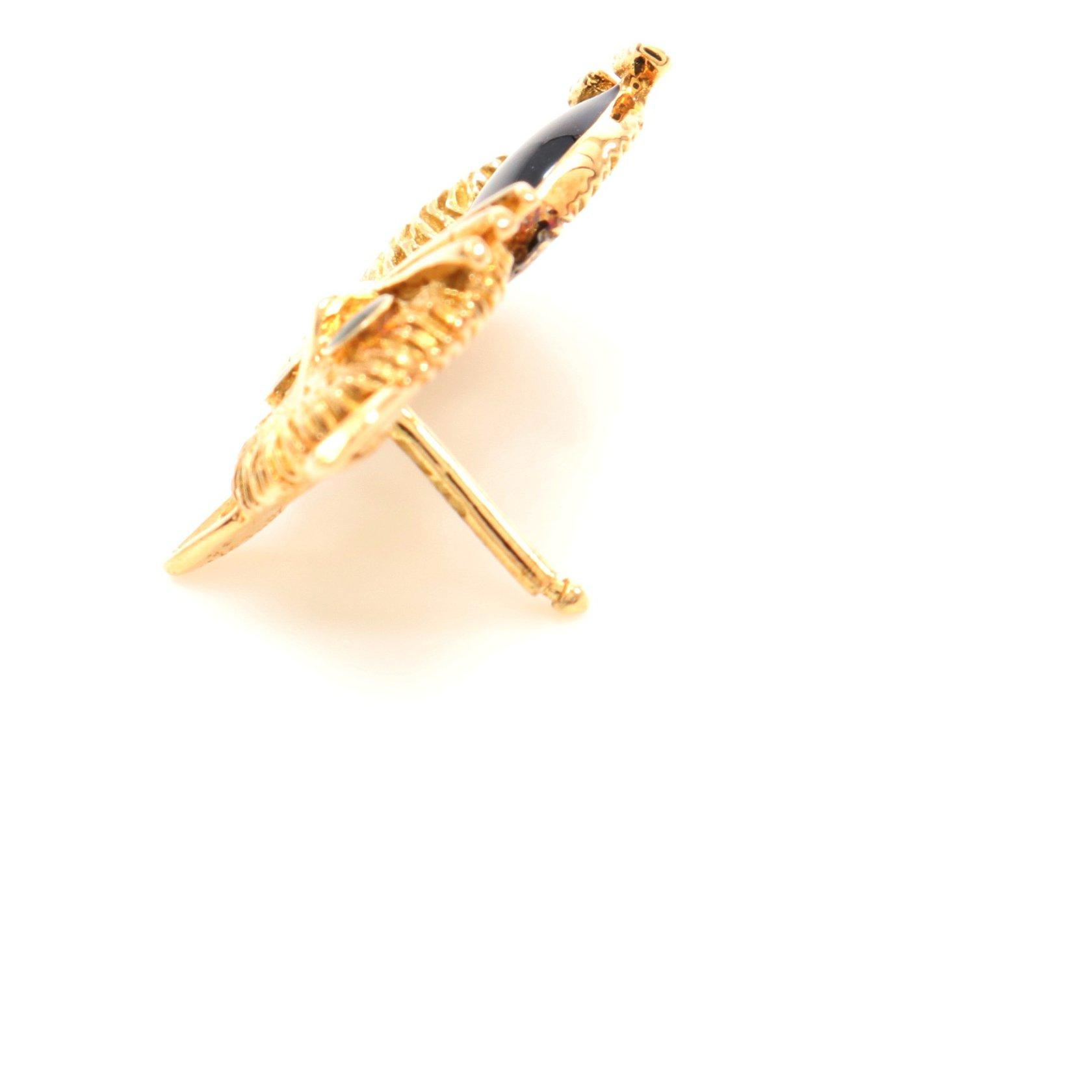 Van Cleef & Arpels・アクセサリー・アニマルクリップコレクション ブローチ ネコ キャット K18YG 七宝 イエローゴールド ブラック グリーン