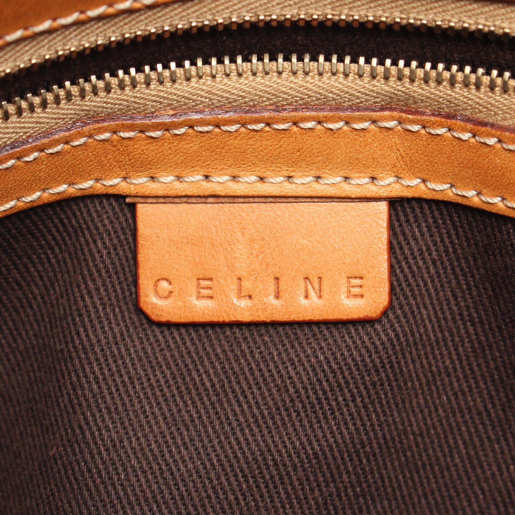 CELINE・バッグ・マカダム ハンドバッグ トートバッグ PVC レザー ダークブラウン ライトブラウン