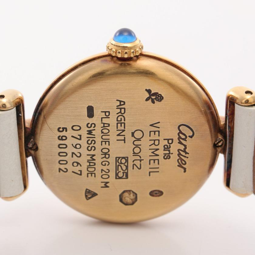 Cartier・時計・マストコリゼ ヴェルメイユ レディース 腕時計 クオーツ SV925 レザー ゴールド ホワイト アイボリー文字盤