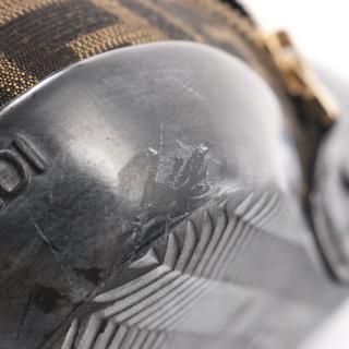 FENDI・シューズ・ズッカ ロング ブーツ キャンバス エナメルレザー ブラウン ブラック
