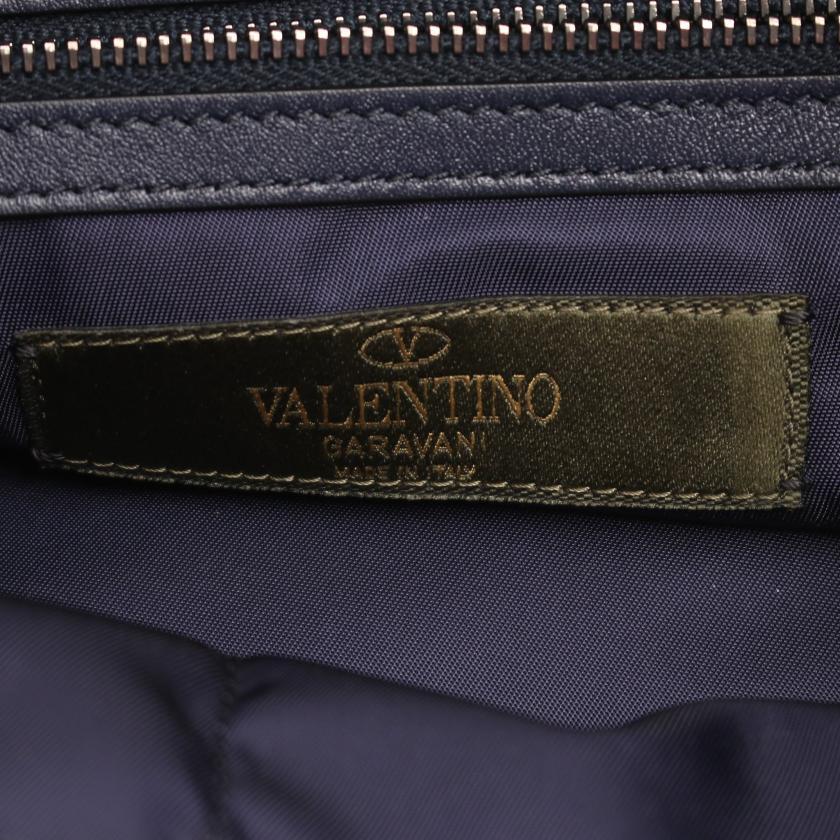 VALENTINO GARAVANI・バッグ・ロックスタッズ バックパック リュックサック ナイロン レザー ブラック ブルー ホワイト