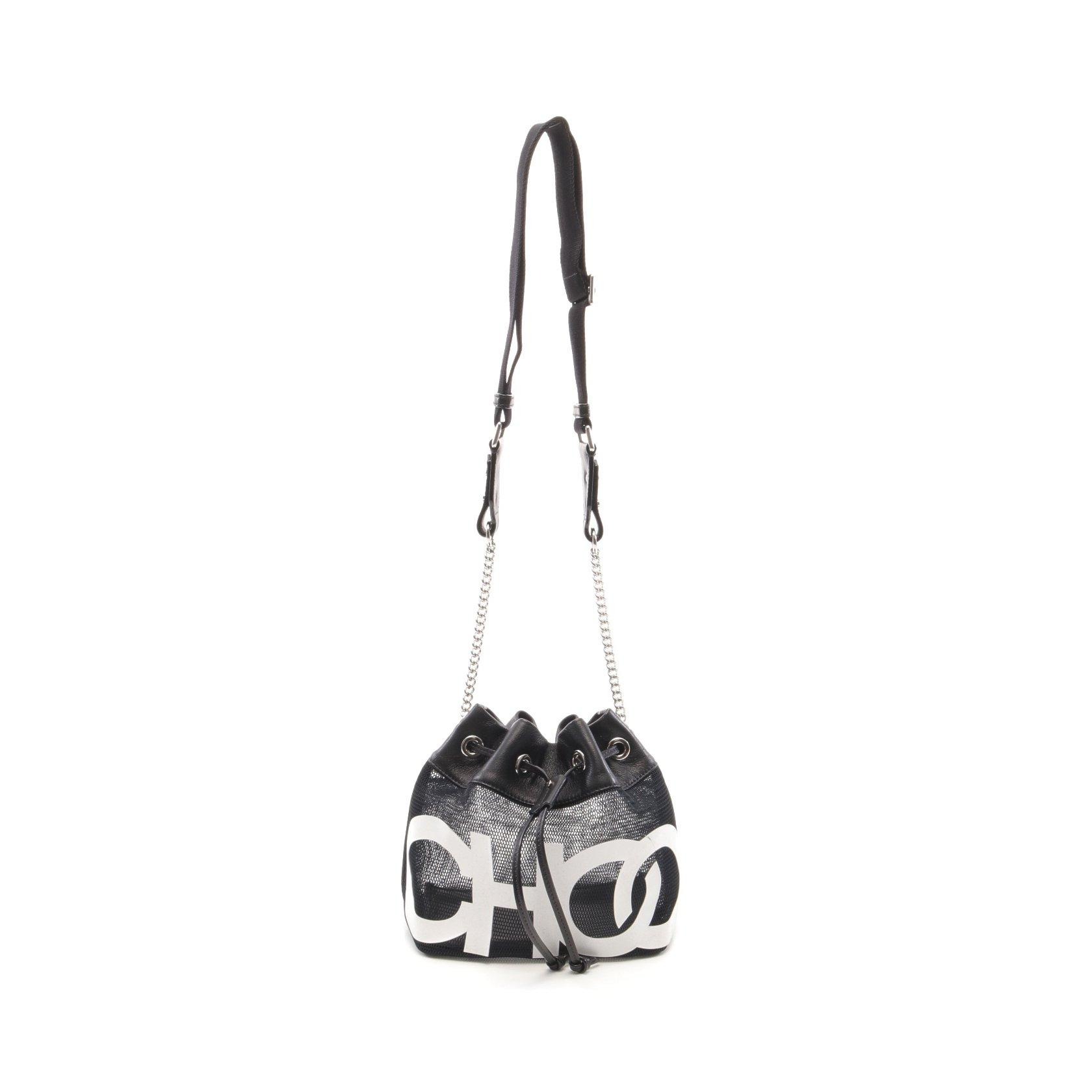 JIMMY CHOO・バッグ・JUNO ジュノ チェーンショルダーバッグ レザー ブラック ホワイト メッシュ CHOOロゴ ドローストリング