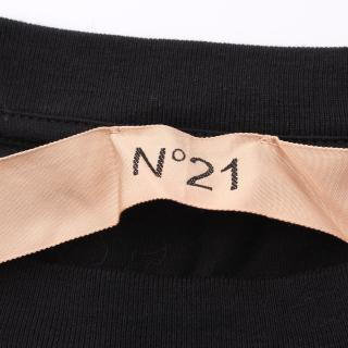 N°21・トップス・ Tシャツ ロゴプリント ブラック ホワイト ウエスト切り替え リボン