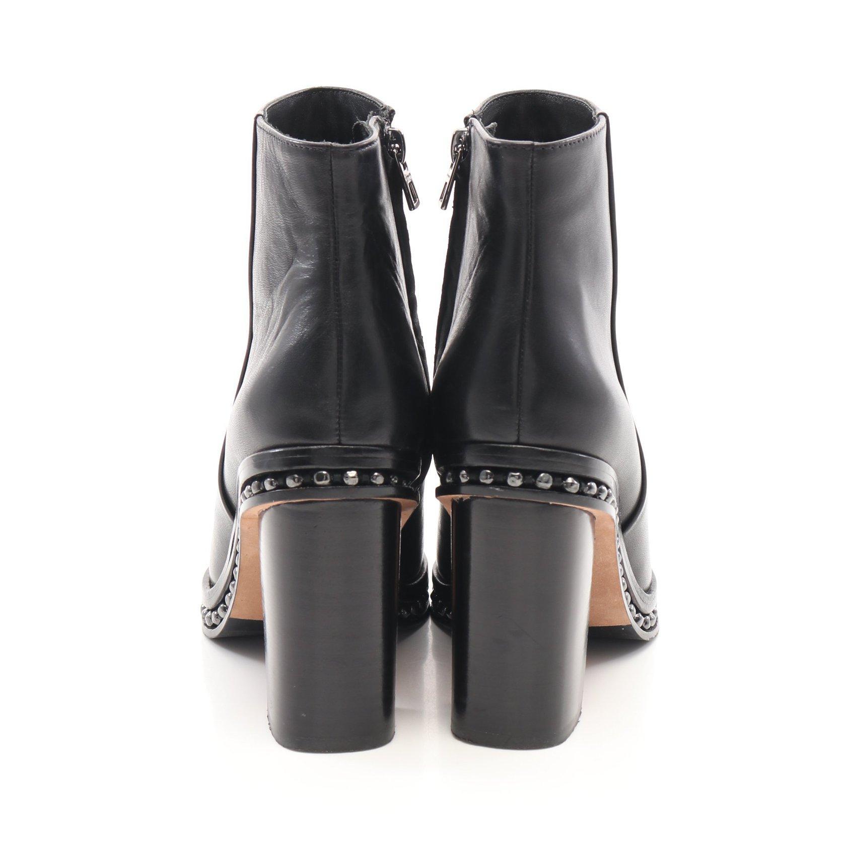 COACH・シューズ・JUSTINA BEAD CHAIN BOOTIE ショート ブーツ レザー ブラック