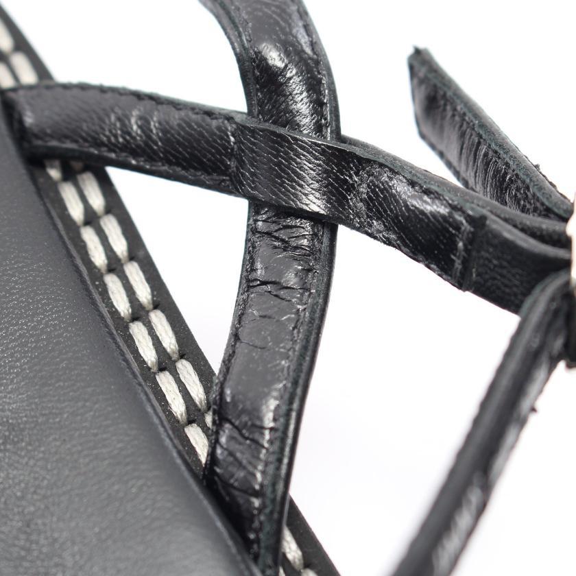 JIMMY CHOO・シューズ・ トングサンダル ナイロンキャンバス レザー ブラック ロゴ