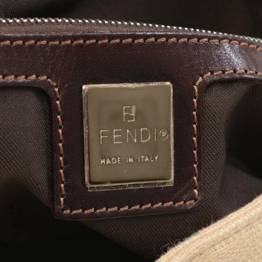 FENDI・バッグ・マンマバケット ズッカ ハンドバッグ キャンバス レザー ベージュ ダークブラウン
