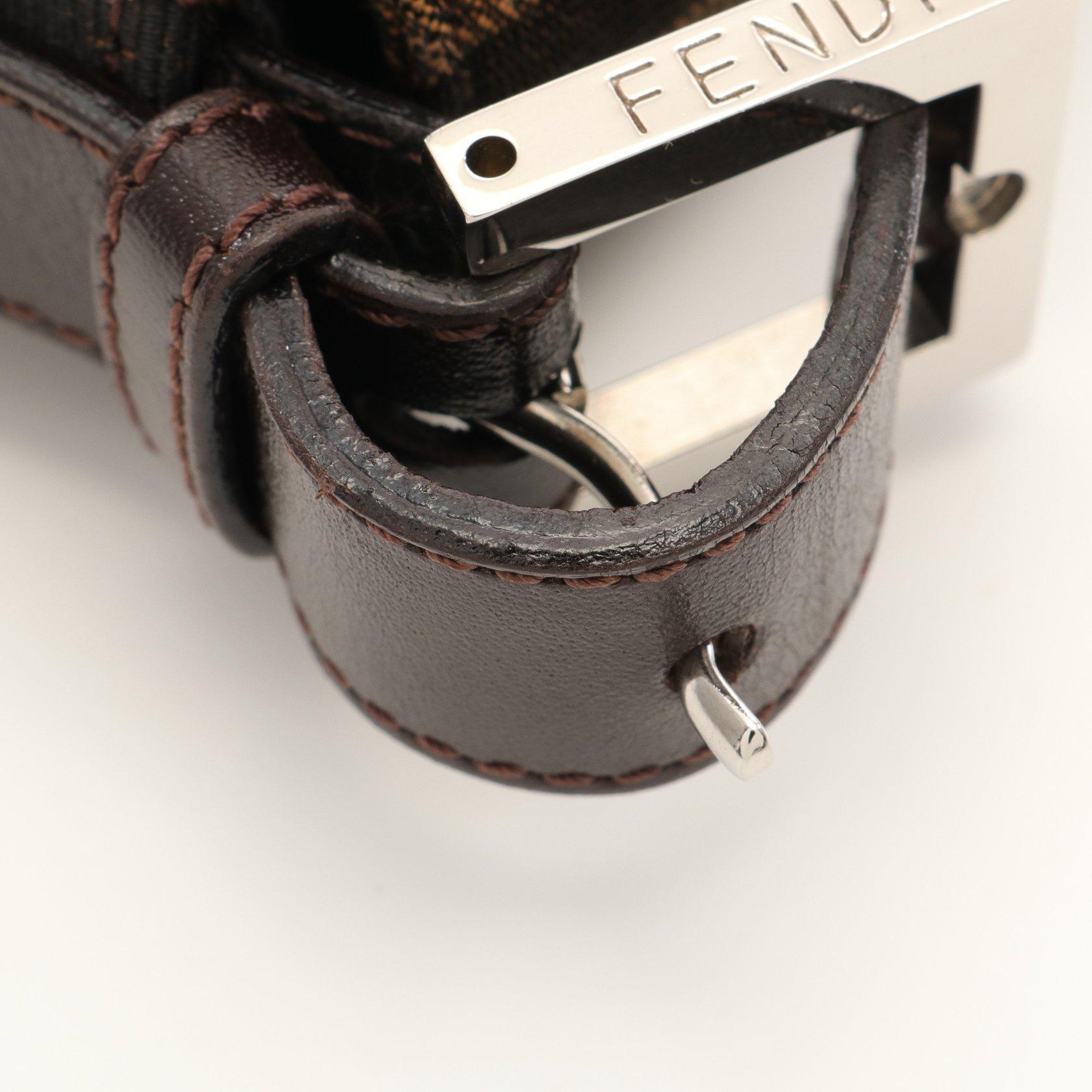 FENDI・バッグ・マンマバケット ズッカ ハンドバッグ キャンバス レザー ブラウン ブラック ダークブラウン