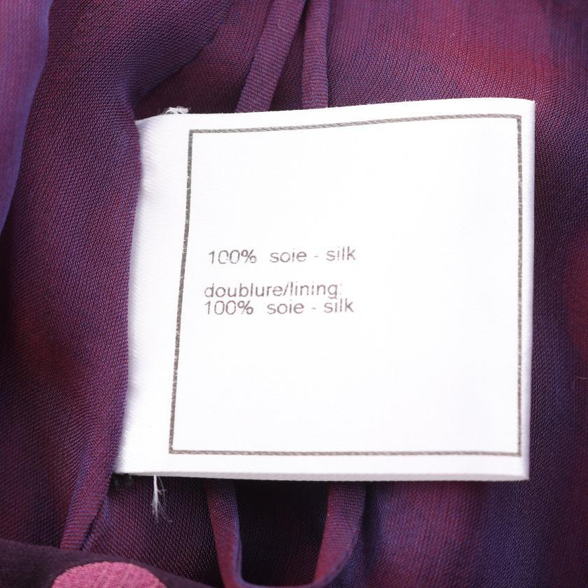 CHANEL・スーツ・セットアップ ドット柄 シルク ダークパープル ピンクパープル レッド 01P