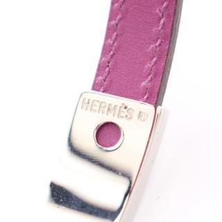 HERMES・アクセサリー・プスプス ブレスレット バングル レザー パープル シルバー金具 □H刻印