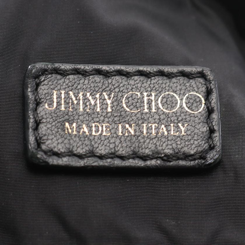JIMMY CHOO・バッグ・ ショルダーバッグ トートバッグ レオパード ナイロンキャンバス レザー ブラック グレー