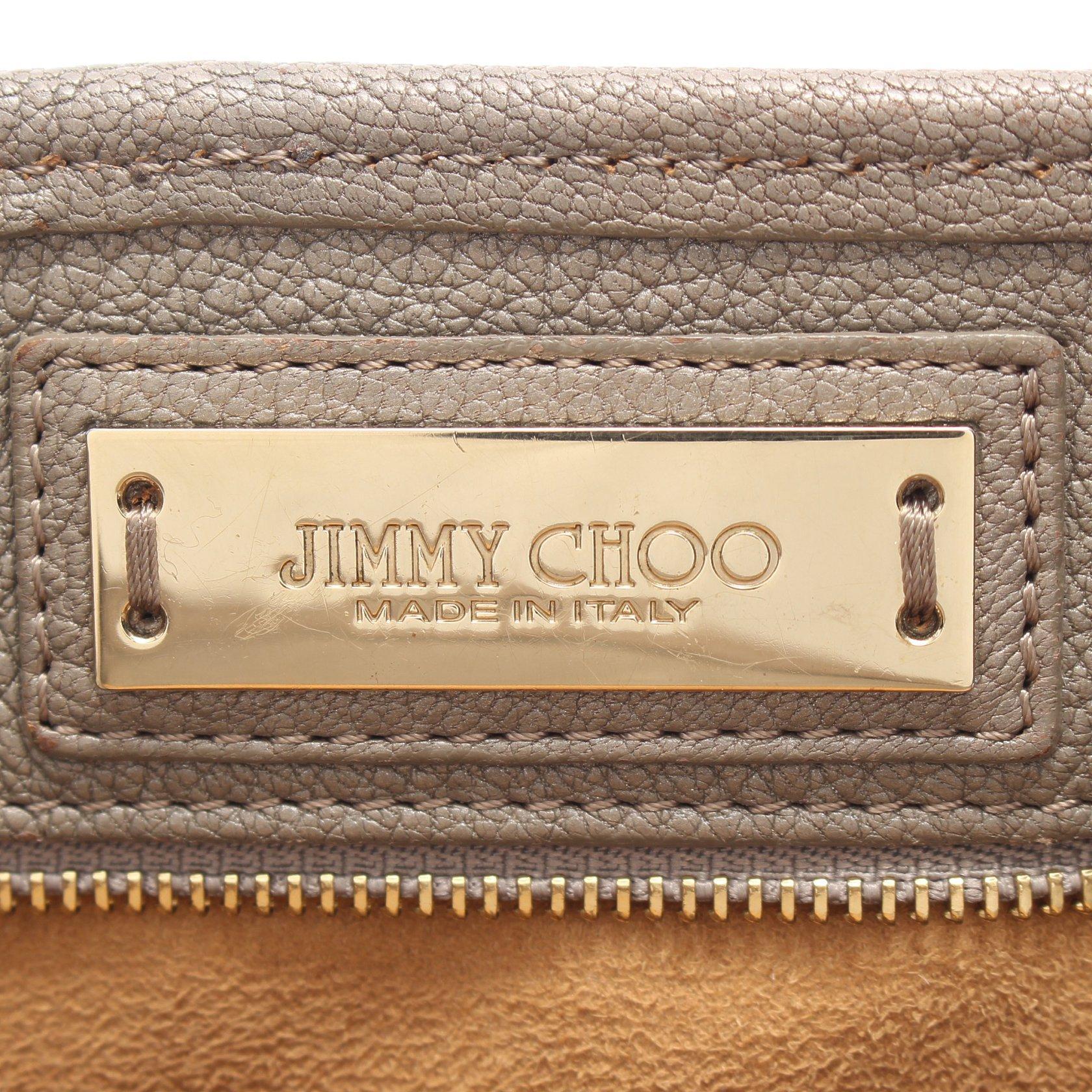 JIMMY CHOO・バッグ・サシャM ショルダーバッグ トートバッグ レザー グレーベージュ スタースタッズ