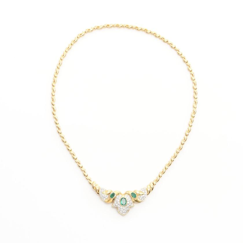 NO BRAND JEWELRY・アクセサリー・ ネックレス K18YG エメラルド1.23ct ダイヤモンド1.27ct イエローゴールド グリーン