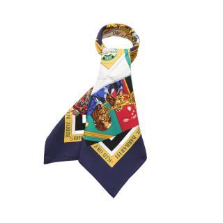 HERMES・財布・小物・カレ90「THE ORIGINAL NEW ORLEANS CREOLE JAZZ」 スカーフ シルク ネイビー マルチカラー