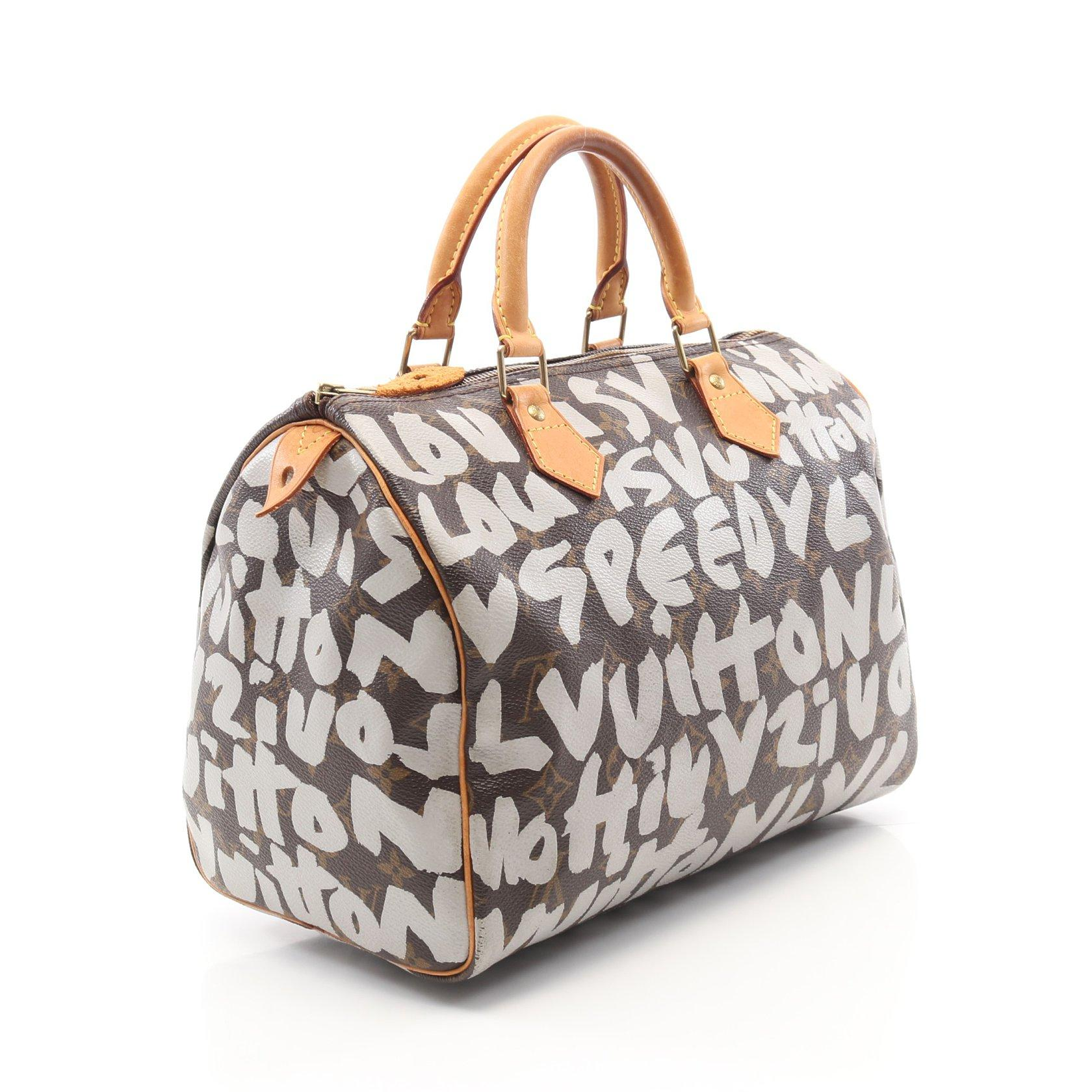 LOUIS VUITTON・バッグ・スピーディ30 モノグラムグラフィティ ハンドバッグ PVC レザー ブラウン
