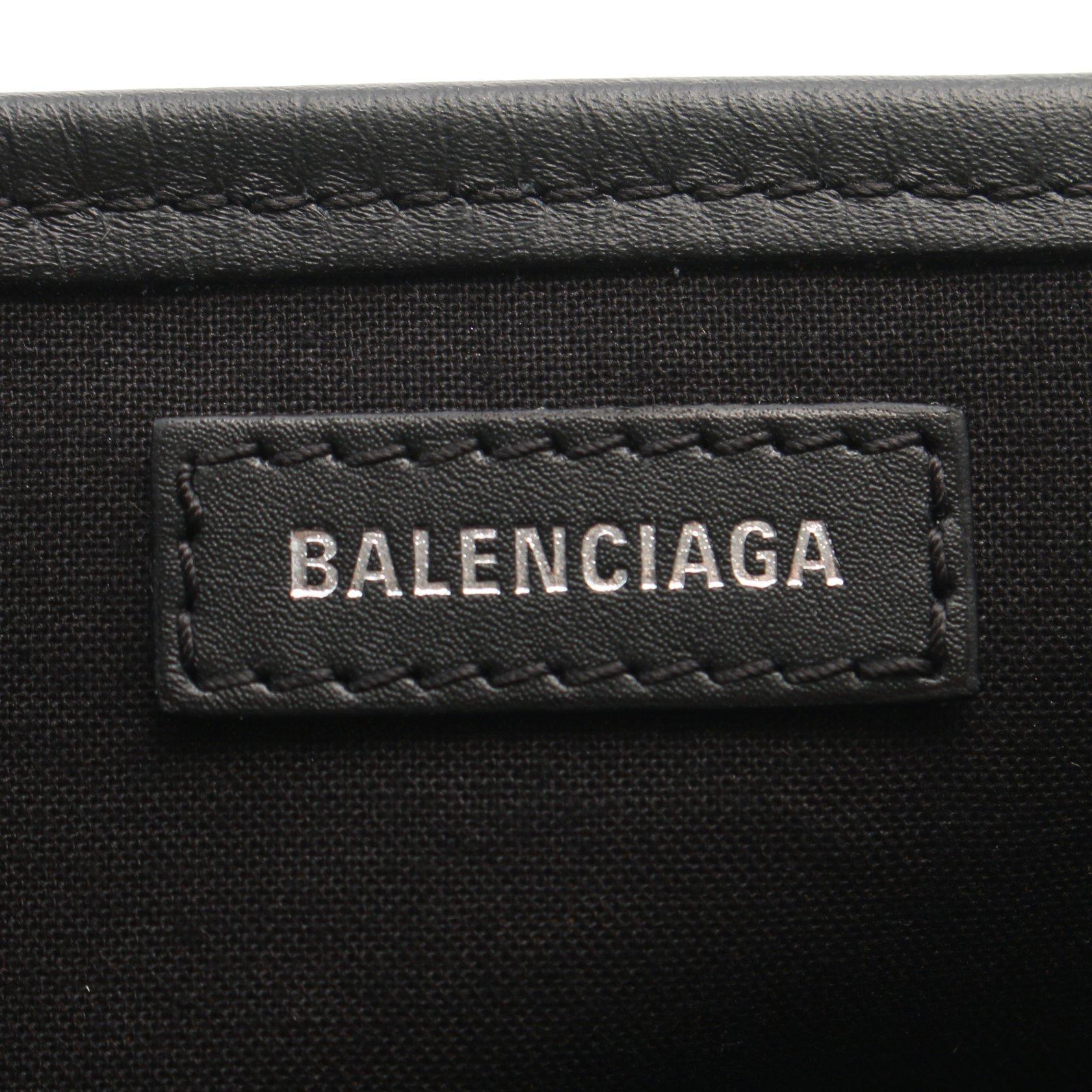 BALENCIAGA・バッグ・ネイビーカバ XS ハンドバッグ キャンバス レザー アイボリー ブラック 2WAY